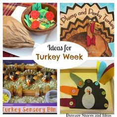 Lesson Plan Ideas for Turkey Week. Arts & Crafts, Dramatic Play Ideas, Construction Space Ideas, Educational Activities, Freebies and More. Great for Childcare Providers, Home Daycare Providers, and Pre-K Home Educators.