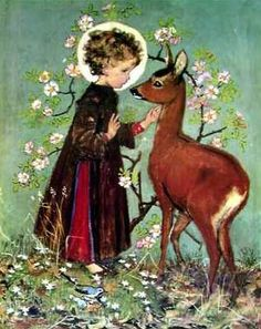 Christ Child and Roe Deer by Muriel Dawson