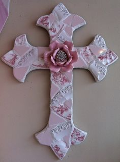 mosaic crosses | XL Mosaic China Cross with Pink Rose Center