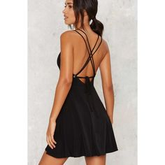 Nasty Gal String Into Play Mini Dress ($58) ❤ liked on Polyvore featuring dresses, black, mini dress, nasty gal, nasty gal dresses, a line little black dress, short dresses, short a line dresses and lbd dress