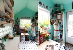 Super Bright Turquoise Craft Shed - Heart Handmade uk