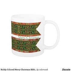 Richly Colored Merry Christmas Ribbon Coffee Mug - Set your table with these Christmas ribbon mugs, serve hot chocolate in them, give them as small gifts at the office or to neighbors. Everyone will love them. #Christmas #mugs