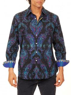 Command respect for your fashion sense in this majestic paisley print, with solid silk cuffs adding some extra luxe. Contrast color trim on interior placket. Mens Printed Shirts, Sports Shirts, Paisley Print, Robert Graham, Contrast Color, Shirt Dress, Long Sleeve, Respect, Cuffs