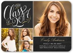 Graduation Announcements: Remarkable Class,  Announcement, Rounded Corners, Black