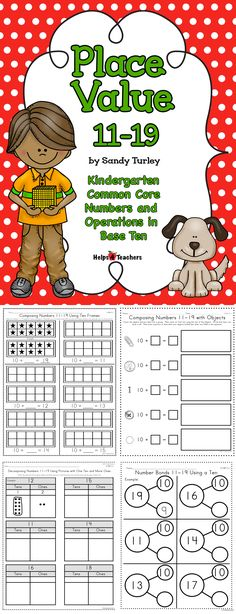 AWESOME! 6 math activities for use with Kindergarten Numbers & Operations in Base Ten Common Core Standards.  It includes composing using ten frames and objects, decomposing using ten frames, pictures, base ten chart, rekenreks and number bonds.  Found at:  http://www.teacherspayteachers.com/Store/Helps4teachers