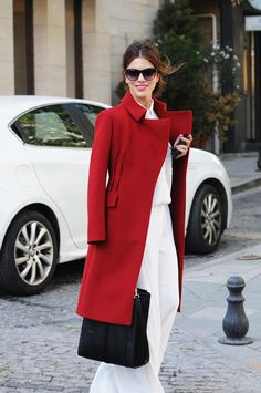 A red coat is a must for this season.
