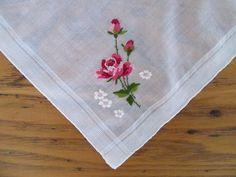 Vintage Handkerchief, Deep Pink Roses, Hand Rolled Edge, Unused, Red Rose Hankie, Vintage Hankie, Pink Roses, Valentines Day Hankie by leckaleigh on Etsy