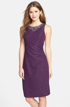 Free shipping and returns on Eliza J Embellished Glitter Sheath Dress at Nordstrom.com. Majestic crystal embellishments sparkle atop a glittery, textured sheath dress detailed with waist-defining ruching for a figure-flattering effect.