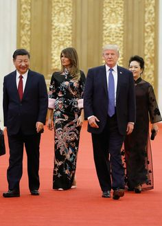 Melania and Trump join Chinese president Xi Jinping and the first lady Peng Liyuan in the Great Hall of the People on November 9th. By Thomas Peter/Pool/AP Photo.