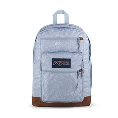 """All the great features of Jansport Big Student, plus a sleeve for a 15 inch"""" laptop and synthetic leather base & trim. Extra large capacity. Water bottle pocket. Premium details and fabrics Handbags For School, Backpack Reviews, S Curves, Backpack Online, Cool Backpacks, Jansport Backpack, Baby Clothes Shops, Laptop Sleeves, Vegan Leather"""