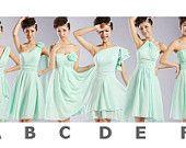 Chiffon bridesmaid dress, Short bridesmaid dress, Mint bridesmaid dress, Gray bridesmaid dress