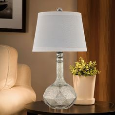 Catalina Mercury Glass Table Lamp, Silver
