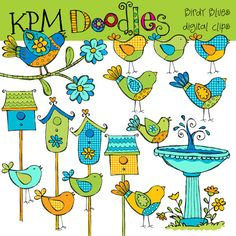 COMBO PACK Birdy blues Digital Clip art and black by kpmdoodles, $5.50