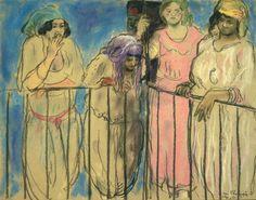 Jean Launois, Quatre algériennes au balcon, 1921 - mine graphite, fusain, pastel et aquarelle sur papier. Centre Pompidou Paris, Summer Is Coming, Graphite, Art Boards, Modern Art, Period, My Arts, Painting, Charcoal Picture