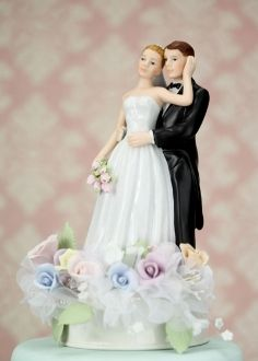 Pastel Rose Bride and Groom Cake Topper