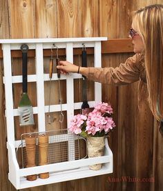 Outdoor Window Shelf with Lattice Diy Projects For Kids, Outdoor Projects, Woodworking Plans, Woodworking Projects, Window Grids, Window Parts, Window Shelves, Spray Paint Cans, Bookshelf Plans