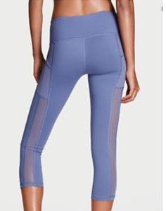 9758e99013 Victorias Secret KNOCKOUT SPORT POCKET CAPRI Mesh Insets SZ XS Blue Mercury  #VictoriasSecret #ActivewearLeggings