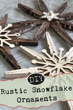 Create rustic snowflake ornaments for your handmade Christmas decor! They are easy Christmas crafts but so beautiful! Customize to go with your home decor style! Get creative! Handmade Christmas Decorations, Christmas Ornament Crafts, Christmas Wood, Homemade Christmas, Simple Christmas, Kids Christmas, Christmas Projects, Holiday Crafts, Snowflake Ornaments