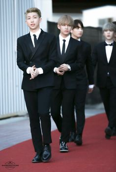 BTS Rap Monster, V, Jungkook and Suga. Look at them lookin all handsome ;)
