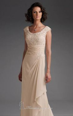 This Cameron Blake 110619W gown is a perfect attire for the mother of the bride! It is made of high quality lace and chiffon fabric with a special feature which is its side skirt drape. There are fine bead embellishments located on its ruched banded bodice, natural waistline and cap sleeves. This gown also features an A-line floor-length skirt that trails down to the floor and pretty scoop neckline.