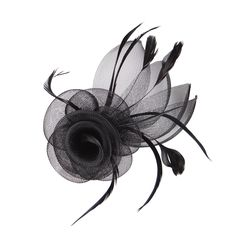 Small mesh flowers fascinator. Feather accent. Hair clip and pin brooch.