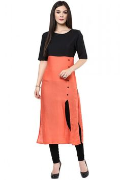 Cotton Party Wear Kurti in Orange Colour...