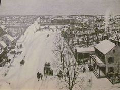 """Old New York """"Madison Square"""" 1828. View north from 21st Street looking up Broadway to Bloomingdale Road. The road turning to the right is the Boston Post Road in front of the wall of the former Arsenal, currently the House of Refuge for Juvenile Delinquents in this view."""
