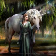 Everglade by Anne Stokes. Anne Stokes, The Last Unicorn, Magical Unicorn, Weeping Willow, Willow Tree, Beautiful Fantasy Art, Gothic Fairy, Magical Creatures, Celtic
