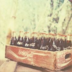 old coke bottles <3  I rarely drink Coke now but I love the label (and the flavor).