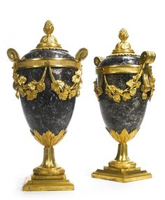 A PAIR OF NEOCLASSICAL ORMOLU-MOUNTED LEVANTO ROUGE MARBLE LIDDED VASES POSSIBLY RUSSIAN, CIRCA 1780. Sotheby's