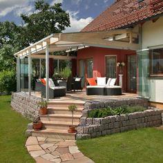 Terrassenverglasung als Windschutz in Erlangen