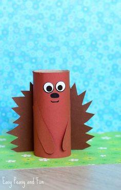 ▷ 1001 + ideas for tinkering with toilet rolls to imitate- ▷ 1001 + Ideen für Basteln mit Klorollen zum Nachmachen a brown hedgehog with a funny expression, toys for children, handicrafts with toilet rolls - Animal Crafts For Kids, Summer Crafts For Kids, Halloween Crafts For Kids, Diy For Kids, Kids Crafts, Arts And Crafts, Wood Crafts, Easy Crafts, Canvas Crafts