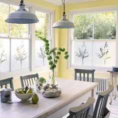 Sunny yellow and grey kitchen.