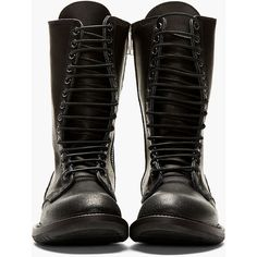 Rick Owens Black Leather Zip-Up Army Boot ($1,835) ❤ liked on Polyvore featuring shoes, boots, sapatos, zipper combat boots, lace up boots, zip up boots, combat boots and military lace up boots