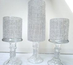 Set of 5 - 3 Tall Rhinestone Candle Holder / Rhinestone Vase Wedding Centerpiece Decoration