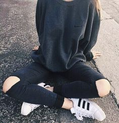 nike sweater + adidas superstar