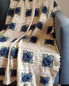 Colcha de rosas azules