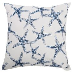 Complement coastal decor or add a stylish touch to the guest bed with this lovely cotton pillow, showcasing a navy starfish motif.    P...