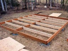 Shed Plans - The pier foundation and pressure-treated floor framing done. - Now You Can Build ANY Shed In A Weekend Even If You've Zero Woodworking Experience! Wood Shed Plans, Shed Building Plans, Diy Shed Plans, Storage Shed Plans, Diy Storage, Building Ideas, Shed Base, Steel Framing, Floor Framing