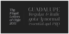 "Guadalupe  Guadalupe, from the family of classic Didots. Is a high performance font, with a great set of alternates & swashes. Carefully refined in  details, specially suited for fashion magazines, logotypes & luxury  contexts. With a range of two different terminal versions; ""Regular"" a classic roman typeface and ""Gota"" much more expressive for word setting.  Designers:Daniel HernándezDesign date: 2011Publisher: Latinotype  (via Hernández Type)"