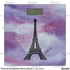 Tower & Inscriptions Paris in Heart | Watercolor Bathroom Scale