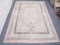 Vintage Anatolia Oushak Rug - Turkish Oushak Rug Carpet Faded Pink Color Rug - Oushak Rug   Style: Oushak Size: 318 x 217 cm ( 10.4 x 7.1 feet )