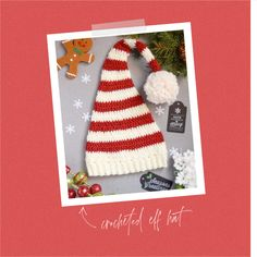 FREE Pixie Elf Hat Crochet Pattern and Tutorial Easy Crochet Hat, Crochet Kids Hats, Crochet Hooks, Crochet Symbols, Crochet Patterns, Elf Hat, Gnome Hat, Christmas Hat, Holiday Hats