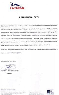 Bial Tibor - Czech Trade Budapest igazgatójának irodaköltöztetés után kapott köszönőlevele