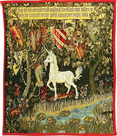 The lion and unicorn tapestries - William Morris Lion And Unicorn, Unicorn Art, Medieval Tapestry, Medieval Art, Vikings, Unicorn Tapestries, Wall Tapestries, Renaissance, Arts And Crafts House