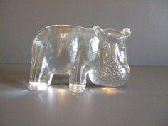 Vintage Kosta Boda Zoo Line Hippo by TangerineStreet on Etsy, $50.00