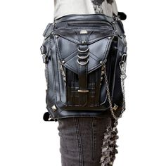 45.00$  Watch now - http://ali1eb.shopchina.info/go.php?t=32759090057 - Steampunk Leather Leg Hip Bags Men's Belt Bags With Striped Fashion Goth Gothic Leather Waist Bag Female Pounch   #buyonline