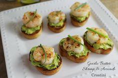 Garlic Butter Shrimp and Avocado Crostini - Delicious Summer Appetizer!