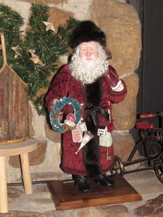Santa (#76.103)) is hand sculpted using clay that when baked resembles fine porcelain. He is approx. 21 Tall. I diligently work on his expression so