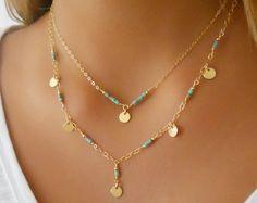 Collar de turquesa; Conjunto de 2 collares; Collar de capas; Lleno de oro de 14 K collar; Collar de turquesa y oro; Collar de monedas; Collar de boho